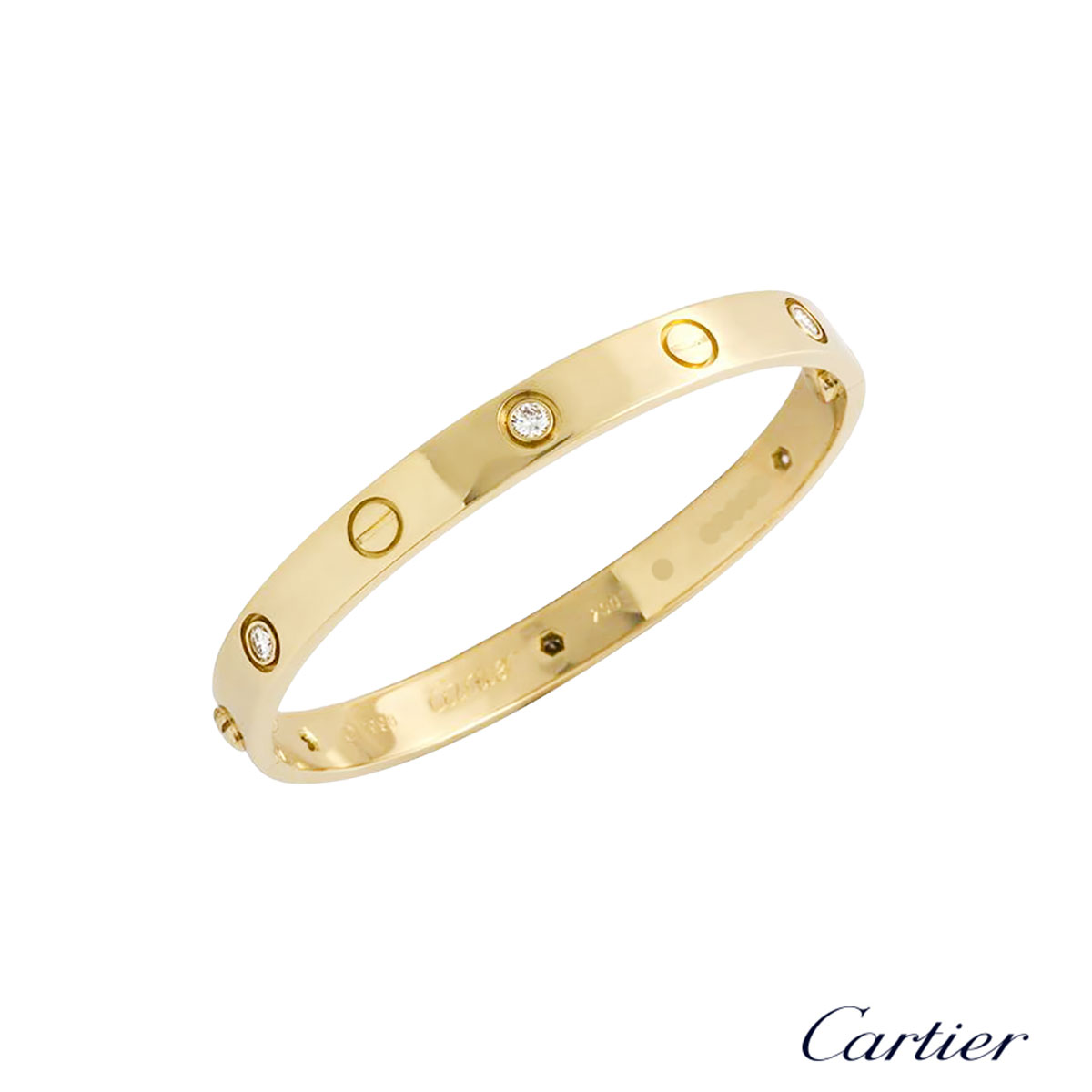 Cartier Yellow Gold Half Diamond Love Bracelet Size 17 B6035917